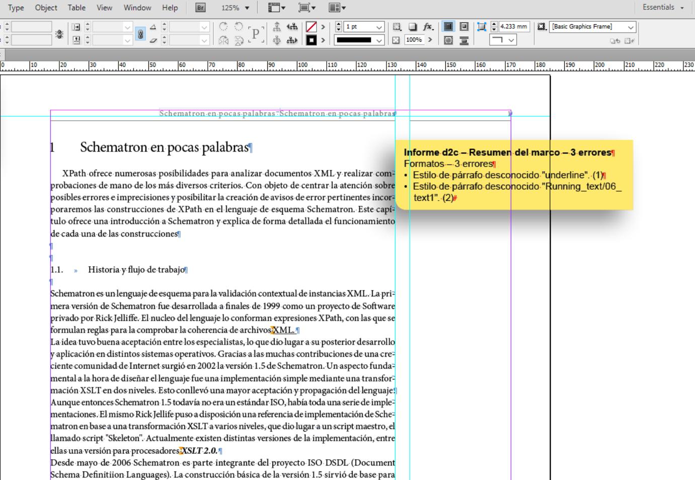 Documentación data2check – Chequear un documento InDesign