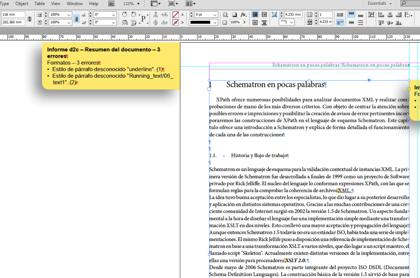 Documentación data2check – Chequear un documento InDesign